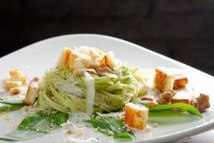 Pasta spaghetti with pesto sauce and wild garlic Royalty Free Stock Image