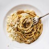 Pasta Spaghetti with Porcini mushrooms Stock Photo