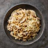 Pasta Spaghetti with Porcini mushrooms Stock Photos