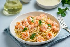Pasta spaghetti with roasted shrimps, bechamel sauce, mint leaf on blue table, italian cuisine, side view.  royalty free stock image