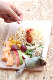 Pasta spaghetti with salad mix fruit and vegetables Royalty Free Stock Photography