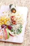 Pasta spaghetti with salad mix fruit and vegetables Royalty Free Stock Photo