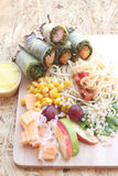Pasta spaghetti with salad mix fruit and vegetables Stock Photo