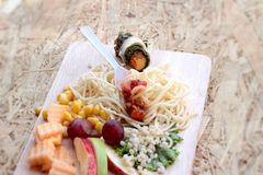 Pasta spaghetti with salad mix fruit and vegetables Stock Photos