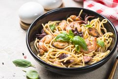 Pasta spaghetti with seafood and tomato sauce. stock image