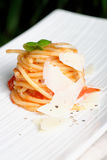 Pasta / Spaghetti with tomato sauce Stock Images