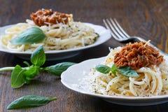 Pasta spaghetti with tomato sauce and parmesan Stock Photo