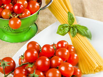 Pasta spaghetti tomatoes. And basil Royalty Free Stock Images