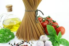Pasta Spaghetti with vegetables. Royalty Free Stock Image