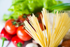 Pasta spaghetti with vegetables Stock Image