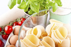 Pasta spaghetti, vegetables and spices,  Royalty Free Stock Photography
