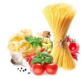 Pasta spaghetti, vegetables, spices and oil. Royalty Free Stock Image