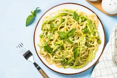 Pasta spaghetti with zucchini top view. royalty free stock images