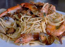 Spaguetti seafood, Italian Cousin, Delicious!!. Pasta Spaguetti Seafood with shrimp, clams and mussels, squid, octopus Royalty Free Stock Image
