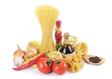 Pasta with spices and vegetables Royalty Free Stock Photography