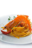 Pasta and spicy shrimps Royalty Free Stock Photos