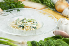 Pasta with spinach Royalty Free Stock Image