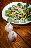 Pasta with spinach Stock Photography
