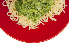 Pasta with spinach Royalty Free Stock Photo