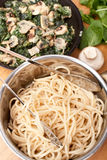 Pasta with Spinach and Mushrooms Stock Images