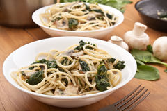 Pasta with Spinach and Mushrooms Royalty Free Stock Image