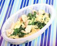 Pasta with spinach and salmon fish Royalty Free Stock Photos