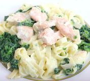 Pasta with spinach and salmon fish Royalty Free Stock Photo