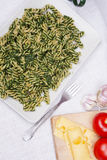 Pasta with spinach Stock Photos