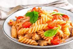 Pasta spirali stirred with fried pieces of chicken, cherry tomatoes Royalty Free Stock Photos