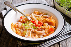 Pasta with squid and vegetables Royalty Free Stock Photography