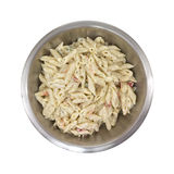 Pasta in stainless steel bowl Royalty Free Stock Image