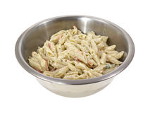 Pasta in stainless steel bowl Stock Image