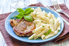 Pasta and steak Royalty Free Stock Images