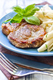 Pasta and steak Royalty Free Stock Photo