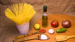Pasta still life. With background in cuisine Royalty Free Stock Image