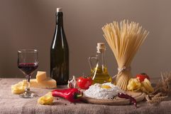 Pasta. Still life with pasta, vegetables and wine Royalty Free Stock Photography