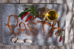 Pasta on a stone for advertising Royalty Free Stock Photo