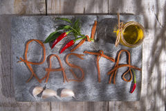 Pasta on a stone for advertising Stock Photos