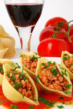 Pasta stuffed with meat royalty free stock images