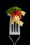 Pasta su fondo nero Fotografia Stock