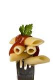Pasta sulla forcella Fotografie Stock