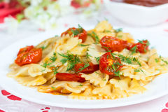 Pasta with sun-dried tomatoes Royalty Free Stock Image