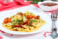 Pasta with sun-dried tomatoes Royalty Free Stock Images
