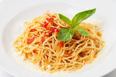 Pasta with sweet bell pepper, basil Stock Image