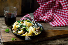 Pasta with swiss chard Stock Image