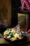 Pasta with swiss chard Stock Photo