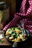Pasta with swiss chard Stock Photos
