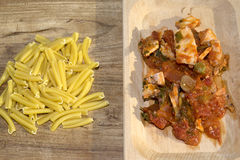 Pasta with swordfish Stock Photos