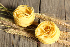 Pasta on the table ready to cook spikelets Royalty Free Stock Images