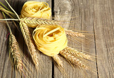 Pasta on the table ready to cook spikelets Royalty Free Stock Image